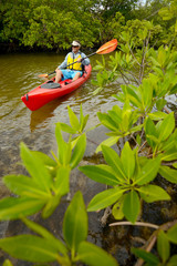 man kayaking in tropical