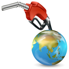 A red petrol pump and a globe