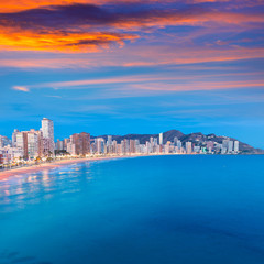 Benidorm sunset Alicante playa de Levante beach sunset in spain
