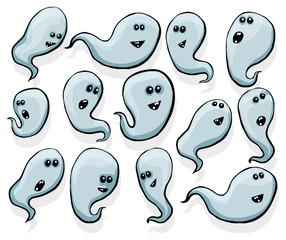 Set of random happy ghosts, transparent