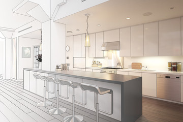 Kitchen implemented inside a city loft (draw)