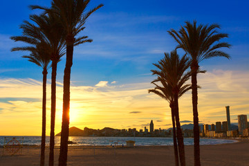 Benidorm Alicante playa de Poniente beach sunset in Spain