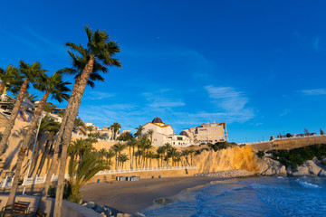Benidorm Alicante playa del Mal Pas beach at sunset in Spain