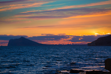 Benidorm sunset skyline view from Calpe Alicante Spain