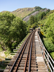 Railway track up Taieri Gorge New Zealand