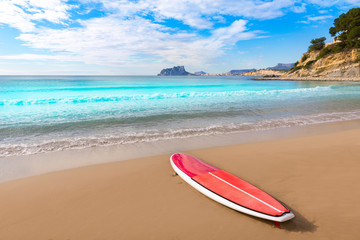 Moraira playa El Portet beach with paddle sufrboard at Alicante