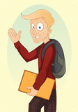 Cartoon school boy with backpack