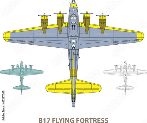 Vector illustration of old military airplane