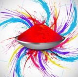 Beautiful holi colorful indian festival grunge stylish wave on g