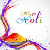 Beautiful splash of colorful grunge wave gulal for holi backgrou
