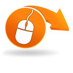 souris sur bouton orange