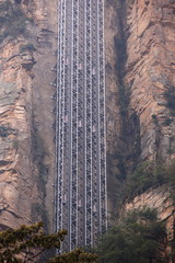 electrical lift built on steep cliff at zhangjiajie,china