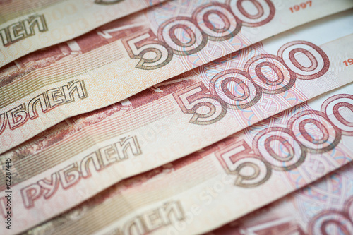 Background of five thousand russian rubles, close-up.
