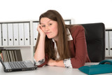 listless young woman in office