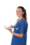 young female doctor working with tablet PC