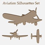 Brown plane silhouette set