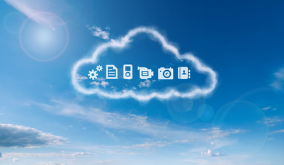 a storage cloud with computer icons