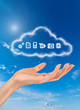 a woman hand carries a cloud with computer icons