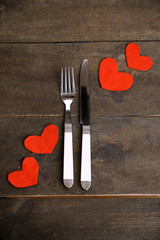 Valentines day dinner with table setting