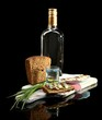 Composition with bottle of vodka, sandwich with salted fish,