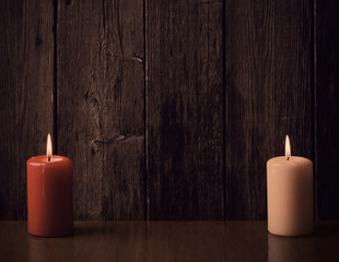 candles on old wooden background
