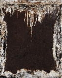 Metal background. Grunge rusty damaged frame. Painted metal with
