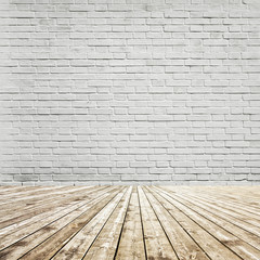 Brick wall room and wooden floor. Background