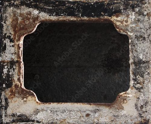 Metal background. Grunge rusty damaged frame.