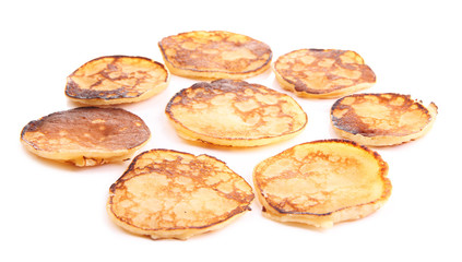 Fried pancakes isolated on white