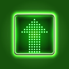 Green arrow neon icon