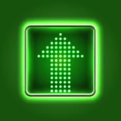 Green arrow neon icon