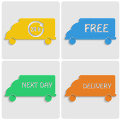 icons delivery. colorfu cars out of paper on gray background.tra