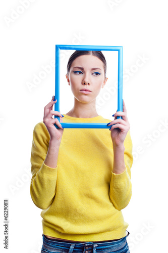 Young beautiful woman with sad expression