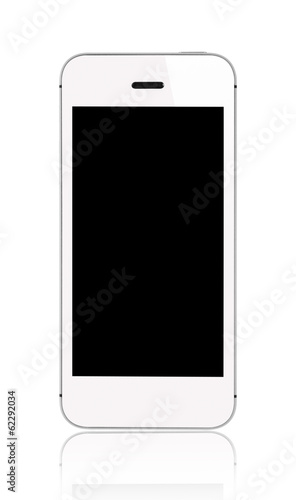 White smartphone blank screen
