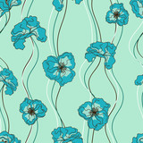 Seamless pattern of fancy flowers