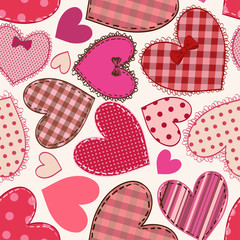 Seamless pattern of heart patchworks