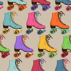 Seamless pattern with retro roller skates