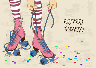 Illustration with female legs in retro roller skates