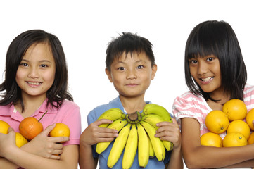 Healthy food for Group of little kids friend isolated over white
