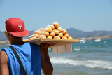 Donuts brought by a seller seaside