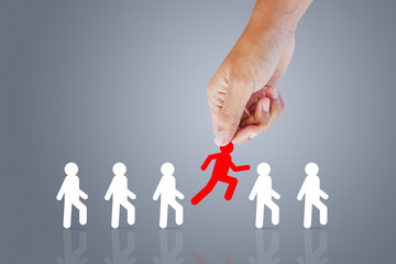 Choose employee standing out of the crowd. Leadership concept