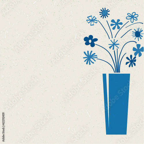 blue bunch of flower printed on recycled paper