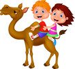 Boy and girl riding camel