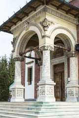 Detailed view of an orthodox church front entrance