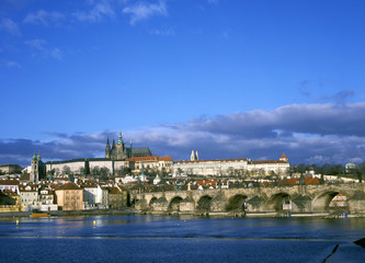 Prague Castle with Charles bridge, Prague, Czech Republic