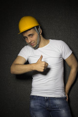 young male engineer with thumb up