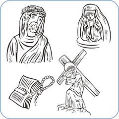 Jesus Christ and bible - vector illustration