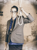Manager business man holding noose rope at gallows