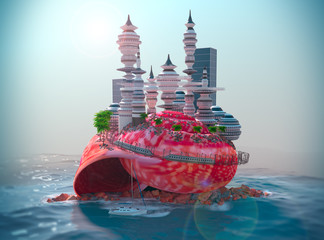 background with seashell and ecologic futuristic city