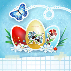 Easter background with eggs and butterfly, in blue